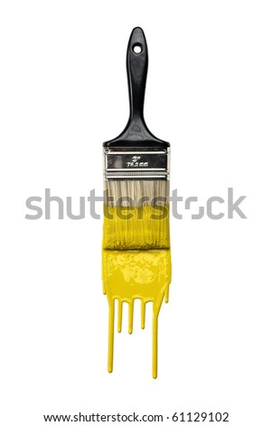 Paintbrush with dripping yellow paint isolated over white background - stock photo