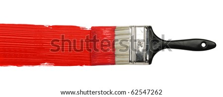 Paintbrush with red paint isolated over white background - stock photo