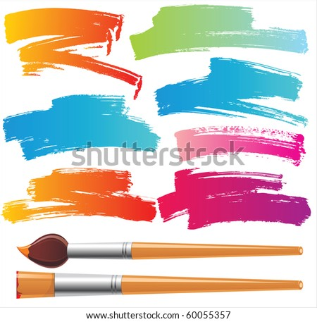 paintbrushes and paint traces - stock photo