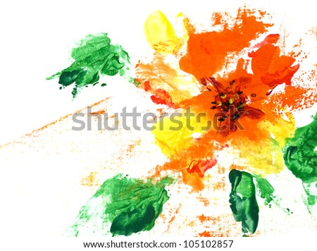 Painted abstract flower on a white background - stock photo
