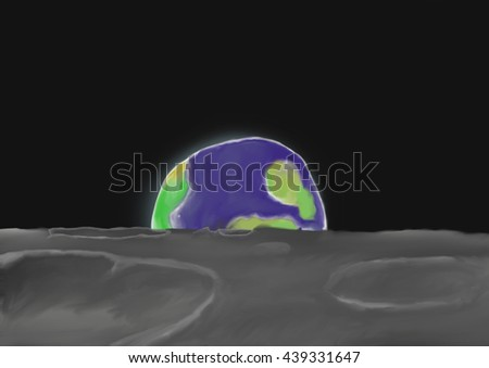 Painted background of rising earth, viewed from the Moon - stock photo