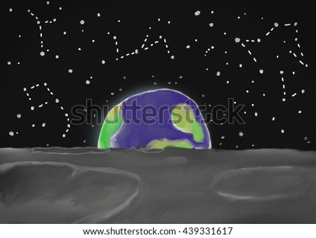 Painted background of rising earth, viewed from the Moon, with  shining stars. - stock photo