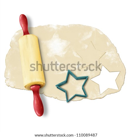 painted baking background: dough, rolling pin, cookie cutters. Isolated, on white background - stock photo