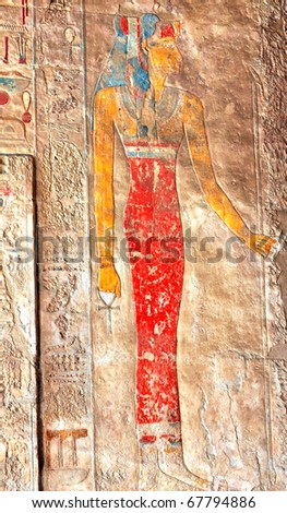 Painted bas-relief of Queen Hatshepsut at Thebes in Egypt - stock photo
