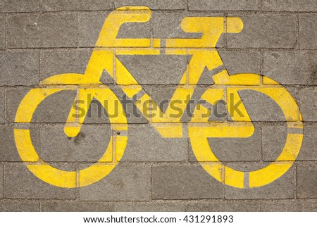 Painted bicycle road guidance sign close up - stock photo