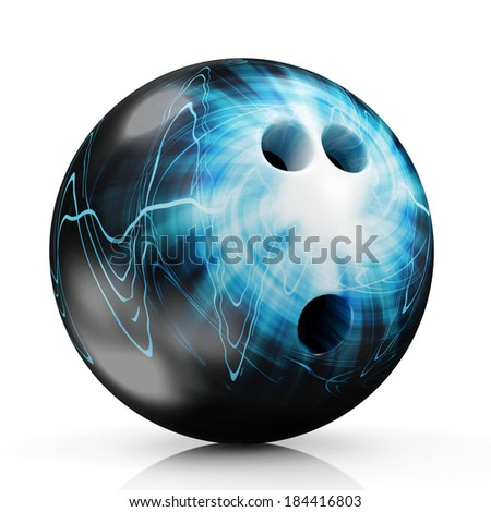 Painted Bowling Ball isolated on white background - stock photo