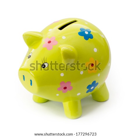 Painted ceramic piggy bank on a white background. - stock photo