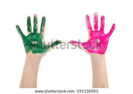 Painted child hands. Child hands painted in colorful paints ready for hand prints - stock photo