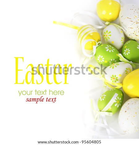 Painted Colorful Easter Eggs on white background (with sample text) - stock photo