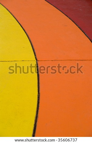 Painted contrasting slabs from a children's park - stock photo