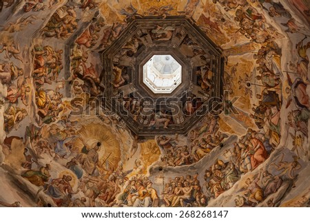 Painted decorated ceiling in the Cathedral Santa Maria del Fiore, Florence, Italy. - stock photo