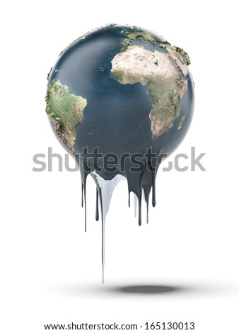 Painted earth globe (Earth map provided by NASA) - stock photo