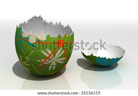 Painted easter egg on reflecting surface - stock photo