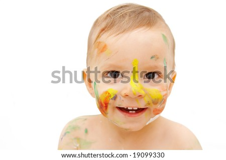 painted face - stock photo