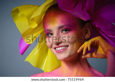 painted female face - stock photo