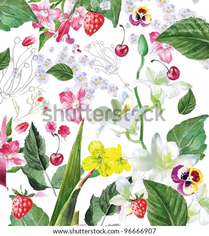 painted flowers - stock photo