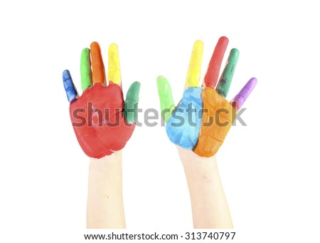 Painted hands, colorful fun. Creative, - stock photo