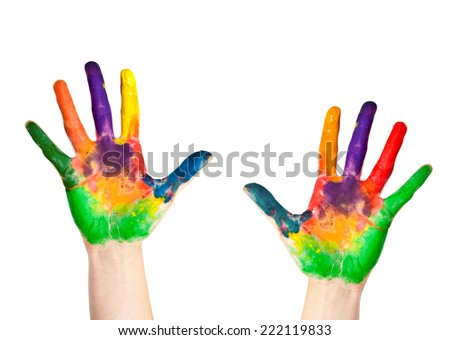 Painted hands, colorful fun. Creative, funny and artistic means happy - stock photo