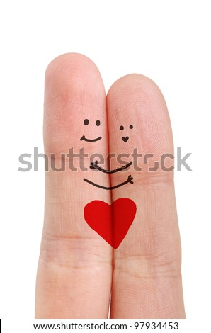 Painted happy fingers smiley in love - stock photo