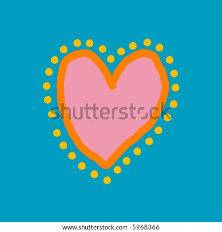 Painted heart in blue, yellow, orange and pink - stock photo