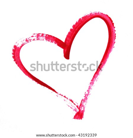 Painted Heart Outline - stock photo