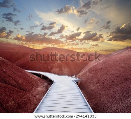 Painted Hills Sunset - stock photo