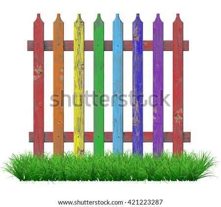 Painted in the colors of the rainbow fence on the lawn. 3D illustration                              - stock photo