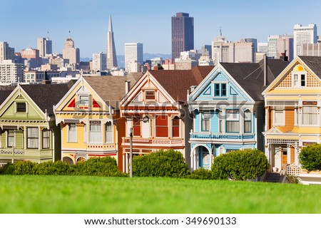 Painted ladies and San Francisco view  - stock photo
