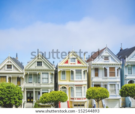 Painted ladies in San Francisco - stock photo