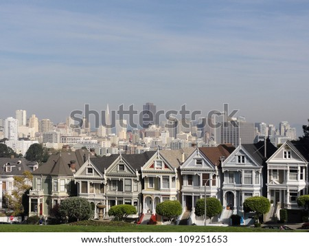 Painted Ladies of San Francisco in California. - stock photo