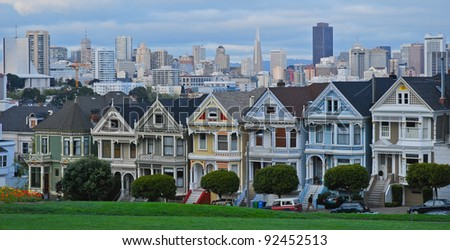 painted lady houses - stock photo