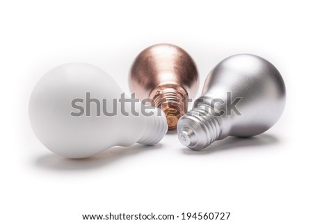 Painted light bulbs on a white background for concept as energy and recycling - stock photo