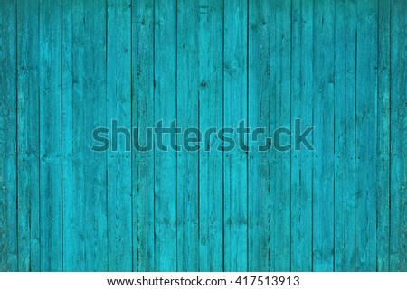 painted old wooden wall. blue background - stock photo