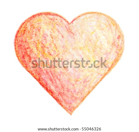 painted on paper crayon heart, isolated - stock photo