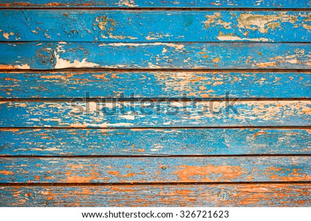 Painted Plain Navy Blue and Brown Rustic Wood Board Background. Blank Room or Space area  for copy, text,  your words, above . Tinted photo. - stock photo