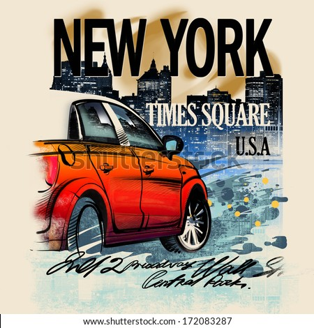 Painted red car on a night in New York. USA. Drawing hand. Rain, puddle, splashing water. Pencil drawing and watercolor. City landscape. A vivid illustration on a old beige background. Urban style - stock photo