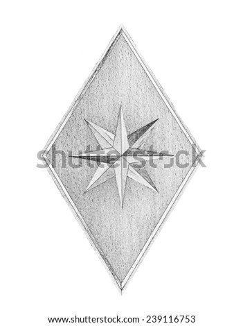 Painted Rhombus and Eight-pointed star in monochrome isolated over white background - stock photo