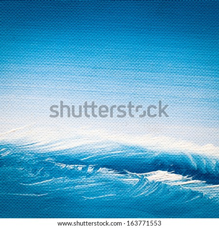 painted sea on canvas - stock photo