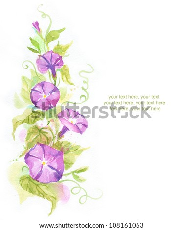 Painted watercolor card with convolvulus and text - stock photo