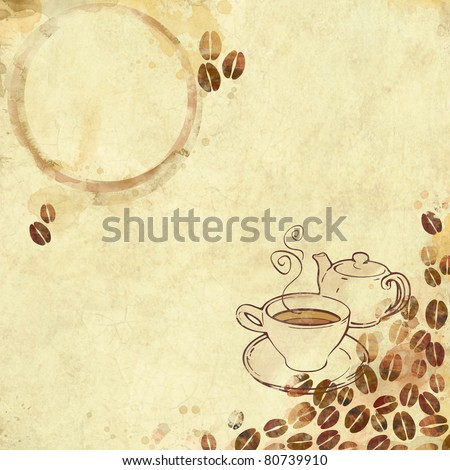 Painted watercolor coffee background - stock photo