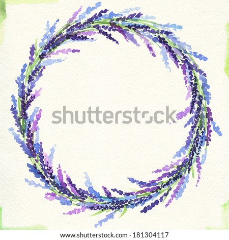 painted watercolor wreath of lavender - stock photo