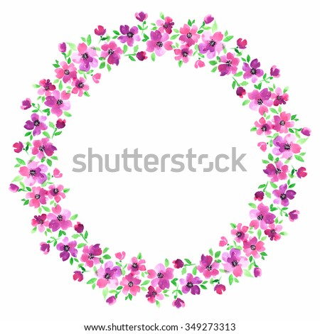 Painted watercolor wreath of stylized pink flowers. - stock photo