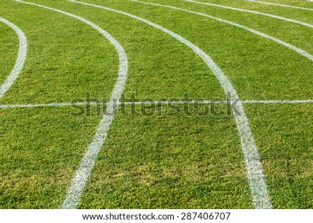 painted white lines on grass - stock photo