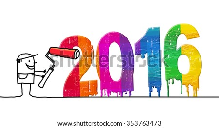 Painter and fresh colored 2016 - stock photo
