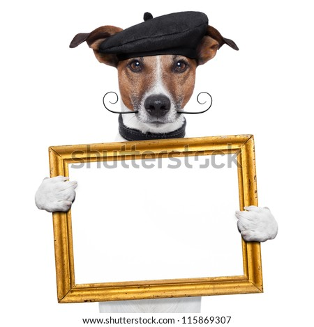 painter artist frame holding dog - stock photo