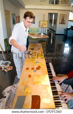 painter at work - stock photo