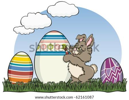 Painter Easter Bunny - Raster Version - stock photo