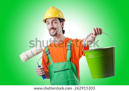 Painter isolated on the white - stock photo