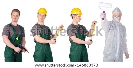 Painter man in a protective suit, mask and glasses and construction worker in overalls with electric screwdriver in hand. Isolated on white background. - stock photo