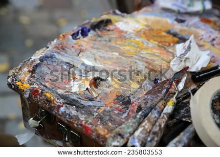 Painter Palette at Tertre Square. Montmartre. Paris - stock photo